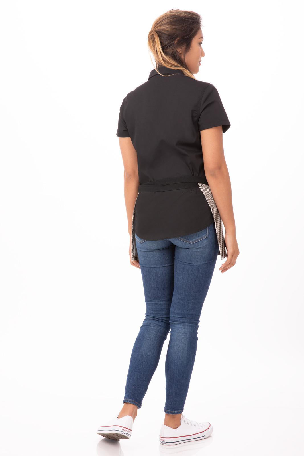 White denim apron - Portland Black Denim Short Waist Apron