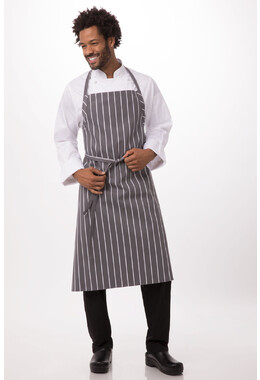 Grey Chalkstripe Adjustable Chefs Apron