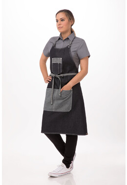 Bronx Indigo Blue Denim Bib Apron W. Scoop Neck