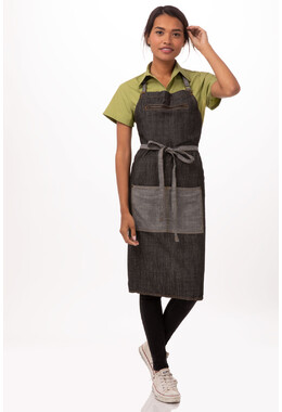 Manhattan Black Denim Bib Apron