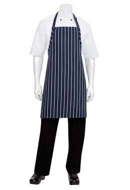 Navy/White Striped Bib Apron No Pocket