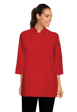 3/4 Sleeve Red Chef Jacket