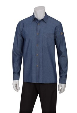 Detroit Indigo Blue Long-Sleeve Denim Shirt