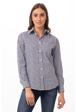 Gingham Women's Navy Dress Shirt