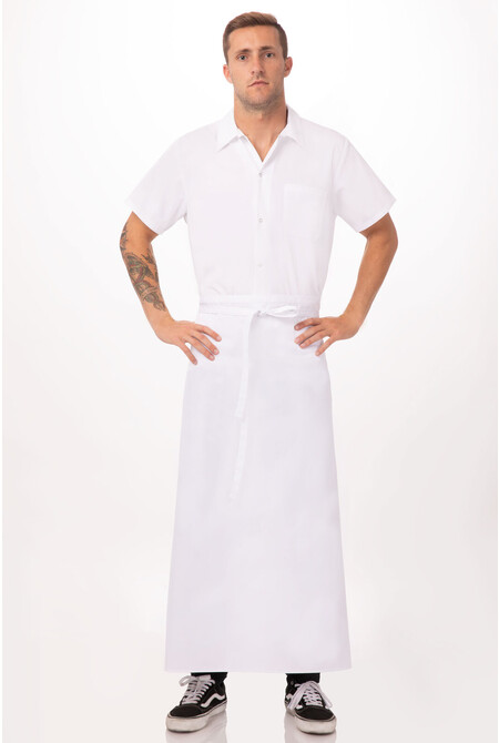 Full Length White Chefs Apron